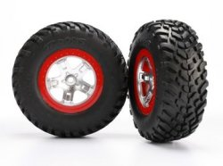 TRAXXAS Tires & Wheels SCT S1/SCT Satin Chrome-Red 4WD/2WD Rear